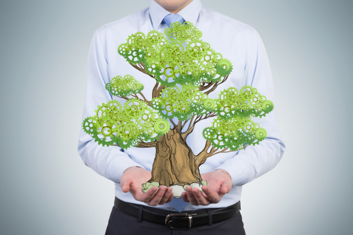 A person in formal clothes holds a sketched tree on the palms. Light blue background. A concept of the process of a growing business or a start up.